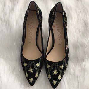 Sole society  Edith2 embroidery suede pump heels